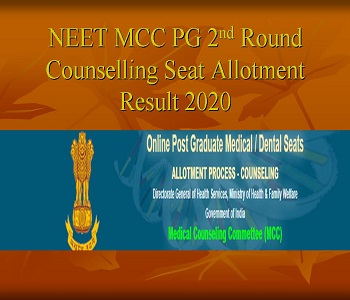 Neet Pg 2nd Round Seat Allotment Results 2020 Today 6 Pm Mcc Pg Provisional Final Result